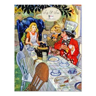 El sorbo de la fiesta del té del sombrerero invitación 10,8 x 13,9 cm