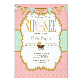 El sorbo rosado del oro de la menta y ve la invitación 12,7 x 17,8 cm