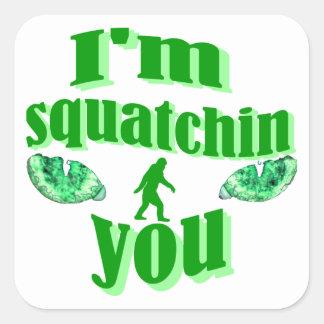 El squatching divertido pegatina cuadrada