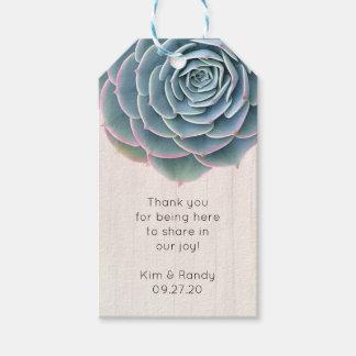 El Succulent azul rústico le agradece etiqueta de Etiquetas Para Regalos