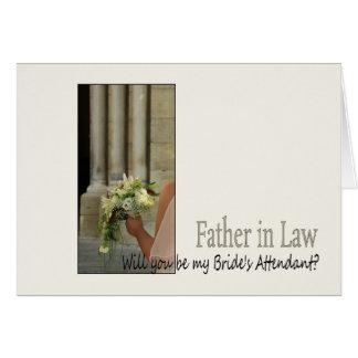El suegro sea por favor el asistente de la novia tarjeta de felicitación