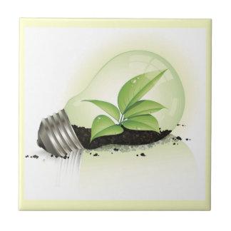 El suelo de las plantas de verdes de la bombilla d teja cerámica