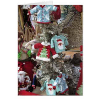 El suéter adorna tarjetas de Navidad