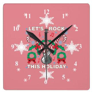 El suéter feo de los copos de nieve deja la roca reloj cuadrado