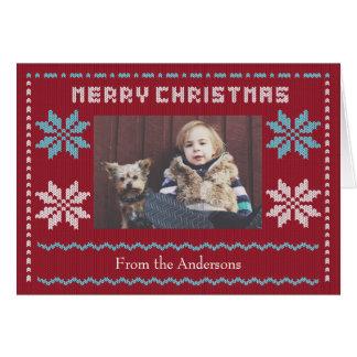 El suéter hecho punto del navidad inspiró la tarjeta