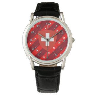 El suizo raya la bandera reloj de pulsera