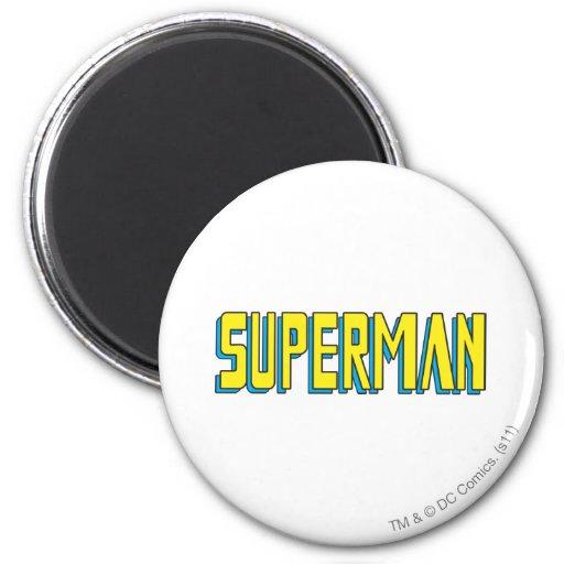El superhombre pone letras a amarillo/al azul imán de nevera