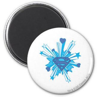 El superhombre Stylized el logotipo azul de los Imanes