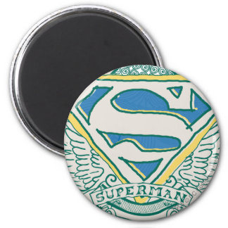 El superhombre Stylized el logotipo bosquejado el Imán Redondo 5 Cm