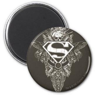 El superhombre Stylized el logotipo de la estrella Imán Redondo 5 Cm