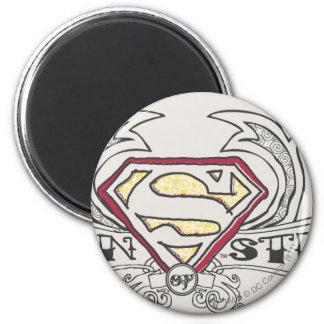 El superhombre Stylized el logotipo de la textura Imán Redondo 5 Cm