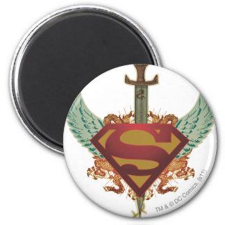 El superhombre Stylized el logotipo de las alas Imán Redondo 5 Cm