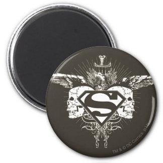 El superhombre Stylized el logotipo de los cráneos Imán Redondo 5 Cm