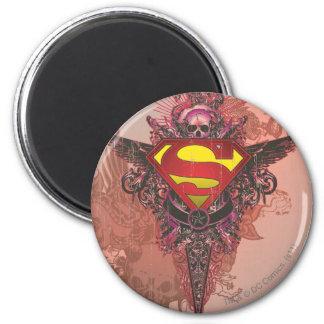 El superhombre Stylized el logotipo del diseño del Imán Redondo 5 Cm