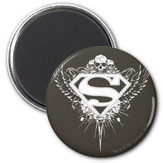 El superhombre Stylized el logotipo del fondo del Imán Redondo 5 Cm
