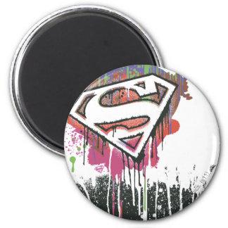 El superhombre Stylized el logotipo torcido el | Imán Redondo 5 Cm