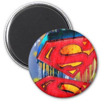 El superhombre Stylized el logotipo urbano del | Imán Redondo 5 Cm