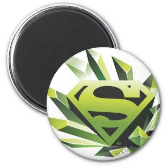 El superhombre Stylized el logotipo verde del Imán Redondo 5 Cm