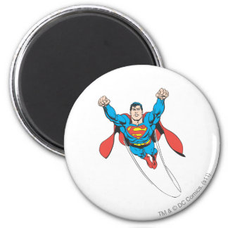 El superhombre vuela adelante imán de nevera
