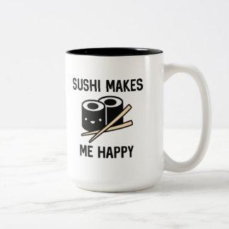 El sushi me hace feliz taza bicolor