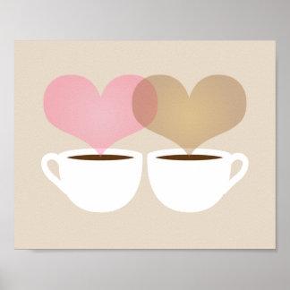 El suyo y el mío tazas de café en la impresión del