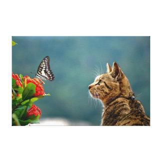 El Tabby y la impresión de la lona de la mariposa