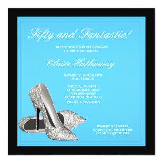 El tacón alto calza a la fiesta de cumpleaños azul invitación 13,3 cm x 13,3cm