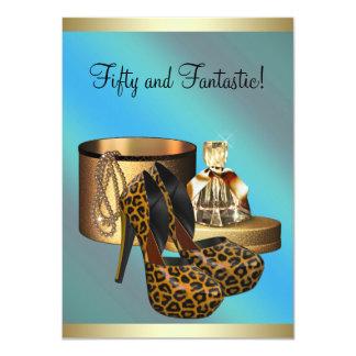 El tacón alto calza cumpleaños de la mujer del oro invitación 11,4 x 15,8 cm