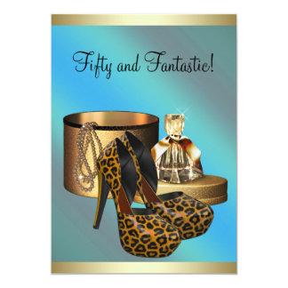 El tacón alto calza cumpleaños de la mujer del oro invitación 12,7 x 17,8 cm