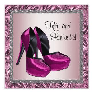 El tacón alto calza cumpleaños del negro rosado de invitación 13,3 cm x 13,3cm