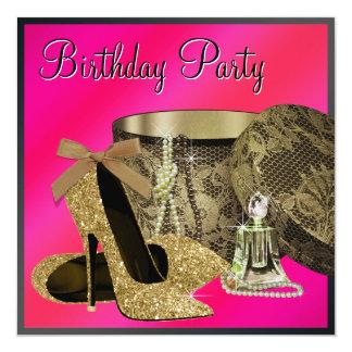 El tacón alto de las perlas calza el cumpleaños de invitación 13,3 cm x 13,3cm