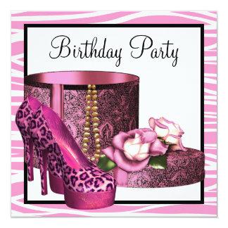 El tacón alto del leopardo calza a la fiesta de invitación 13,3 cm x 13,3cm