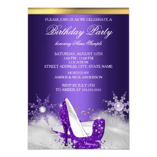 El tacón alto púrpura calza a la fiesta de invitación 12,7 x 17,8 cm