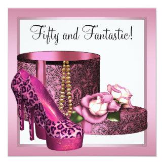 El tacón alto rosado calza cumpleaños del leopardo invitación 13,3 cm x 13,3cm