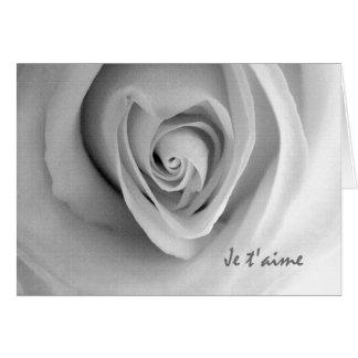El t'aime de Je, te amo en francés, corazón subió Tarjeta De Felicitación