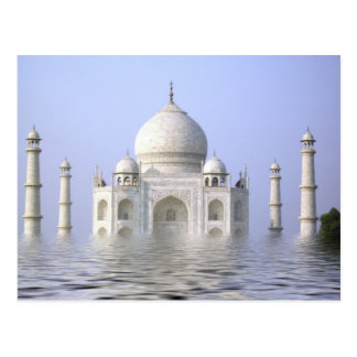 El Taj Mahal con la postal del agua