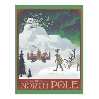 El taller de Santa de la visita en el Polo Norte: Postal