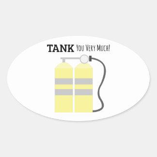 El tanque usted pegatina ovalada