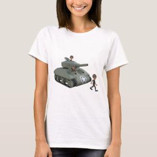 El tanque y soldados del dibujo animado que van camiseta