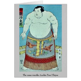 El taro Ukiyoe de Asashio del luchador del sumo Tarjeta Pequeña