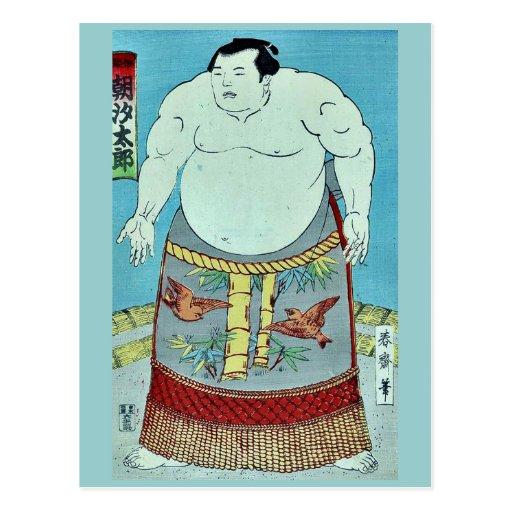 El taro Ukiyoe de Asashio del luchador del sumo Postales