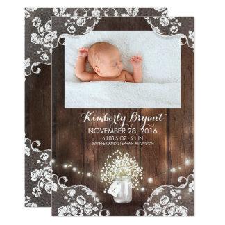 El tarro de albañil enciende nacimiento recién invitación 12,7 x 17,8 cm