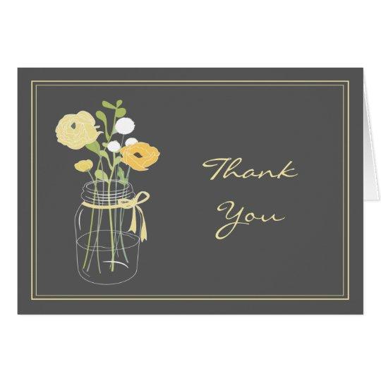 El tarro de albañil gris y amarillo le agradece tarjeta pequeña