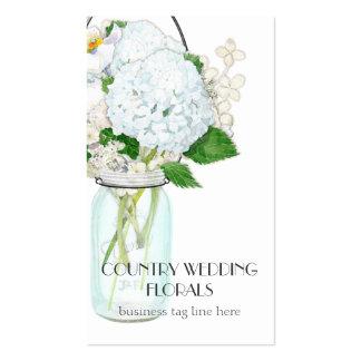 El tarro de albañil rústico del país florece los tarjetas de visita