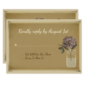 El tarro de albañil rústico florece la tarjeta