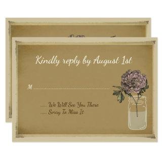 El tarro de albañil rústico florece la tarjeta invitación 8,9 x 12,7 cm