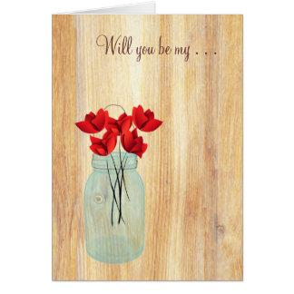 El tarro de albañil rústico que las amapolas rojas tarjeta pequeña