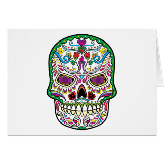 El tatuaje verde florece los cráneos mexicanos del tarjeta de felicitación