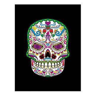 El tatuaje verde florece los cráneos mexicanos del postal