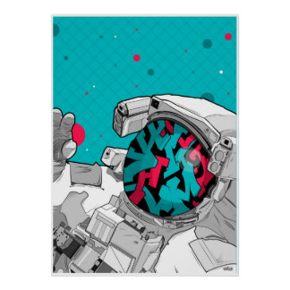 El taveller del espacio de la pintada póster